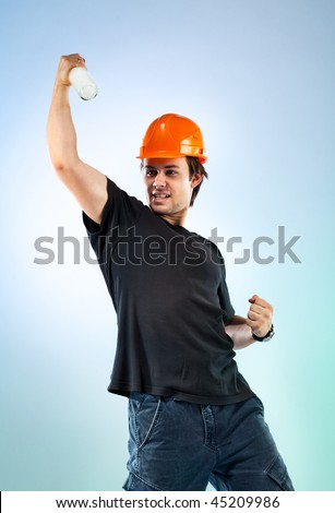 Workman with bottle. On bright colour background.