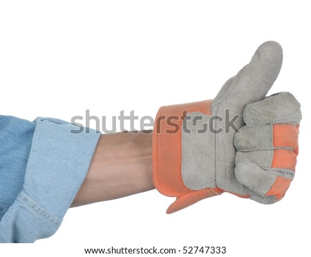 Workman with gloved hand making thumbs up gesture isolated over white. Hand and arm only in horizontal format.