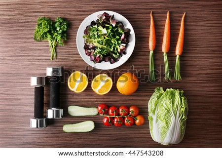 Workout and fitness dieting. Fitness equipment. Healthy food