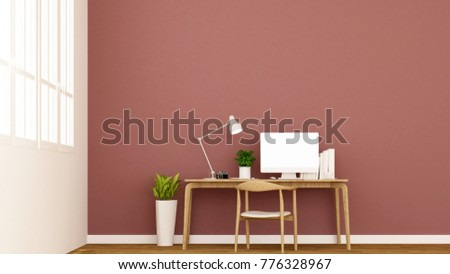 workplace and red wall in apartment or home - Interior design for artwork - 3D Rendering #776328967