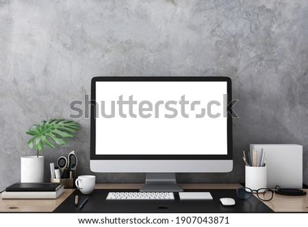 Workplace.Desktop isolated blank screen with plant.3d rendering