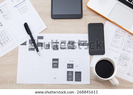 Workplace developer of mobile applications, laptop, notebook, hand, mobile phones and tablets