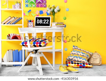 Workplace for teenager with table and chair