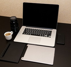 Workplace Laptop Tablet Coffee Lens Black Desktop Cellphone