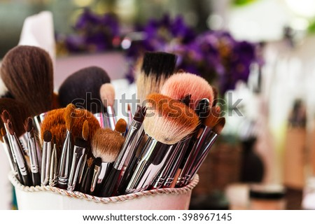Workplace makeup artist. set of brushes for makeup.