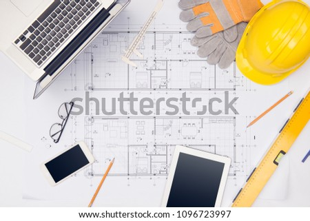Workplace of architect. Architectural plan, technical project drawing #1096723997