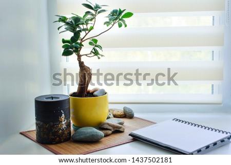workplace on the windowsill, office
