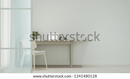 workplace or dining room in home or apartment on white tone - Interior simple design - 3D Rendering #1241480128