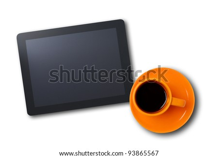 Workplace with blank digital tablet and cup of coffee. Above view shot