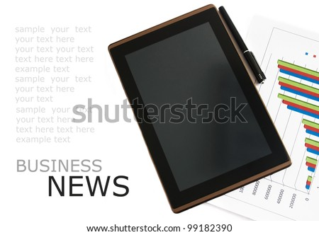 Workplace with digital tablet pc, pen and diagram on work table with sample text. Business news concept - stock photo