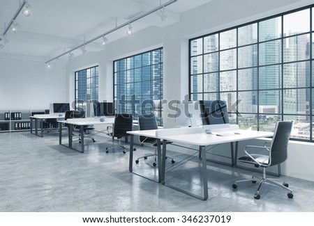 Workplaces in a bright modern loft open space office. Tables are equipped with modern computers; book shelves. Singapore panoramic view. A concept of a high quality consulting services. 3D rendering.