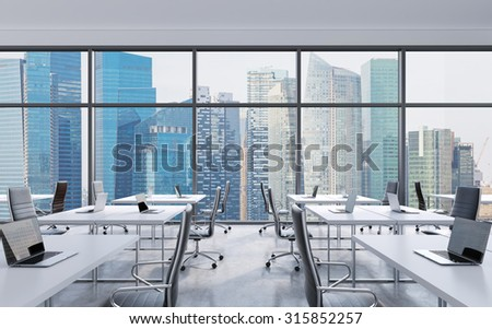 Workplaces in a modern panoramic office, Singapore city view from the windows. Open space. White tables and black leather chairs. A concept of financial consulting services. 3D rendering.