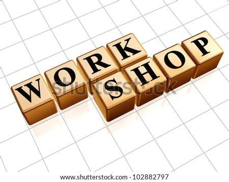 Workshop  3d golden box with black text