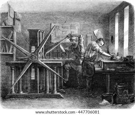Workshop printers intaglio, vintage engraved illustration. Magasin Pittoresque 1852. Stockfoto ©