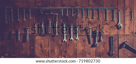workshop scene. old tools...