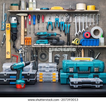 Workshop scene.  Tools on the table and board. #207393013