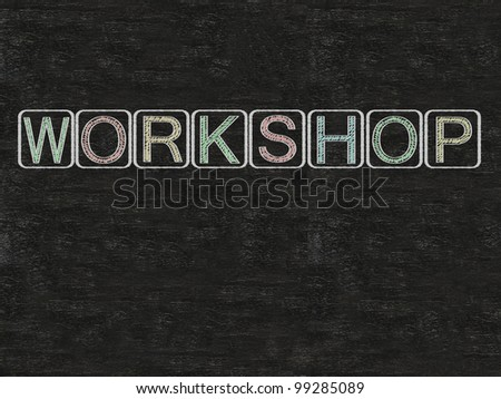 workshop written on blackboard background, high resolution