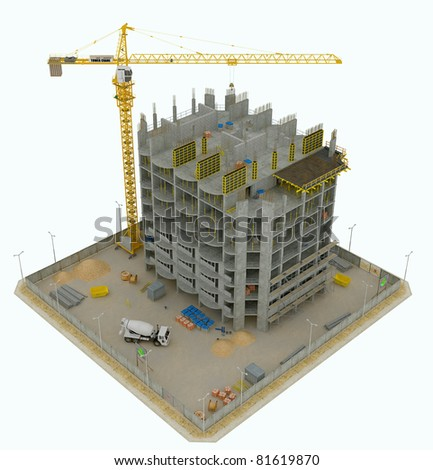 Worksite: top side view of unfinished building and tower crane isolated on white