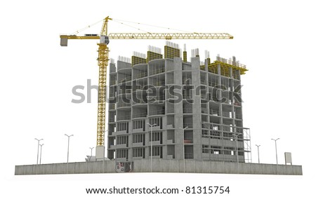 Worksite: unfinished building and tower crane isolated over white background