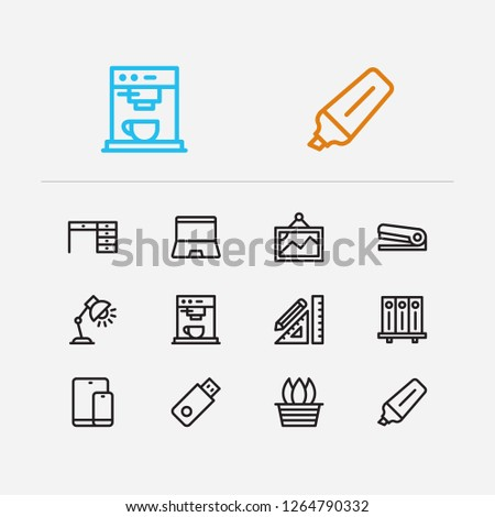 Workspace icons set. Library and workspace icons with laptop, marker pen and stapler. Set of painting for web app logo UI design.