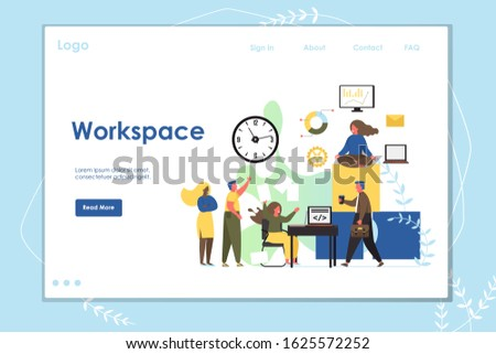 Workspace website template, web page and landing page design for website and mobile site development. Software developers workstation concept with characters working and taking rest.