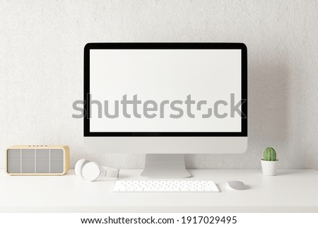 Workspace with mockup blank screen laptop computer. 3D Rendering.