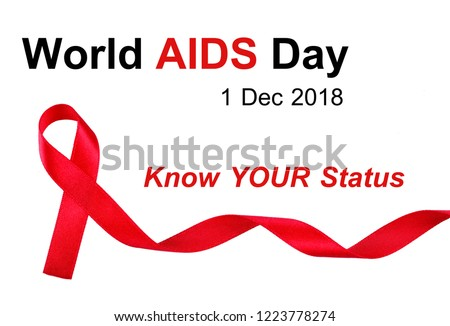 World AIDS Day concept, red ribbon on white background with text