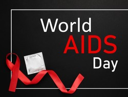 World AIDS Day poster. Frame with red awareness ribbon. condom and text on black background