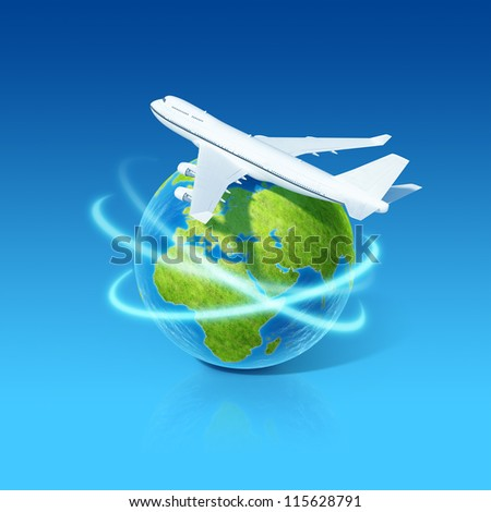 World airlines concept. Airplane flying over earth globe. Little tiny planets collection.