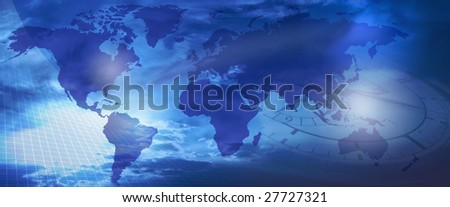 World and Time : Earth with nice blue background and a clock connotating future...