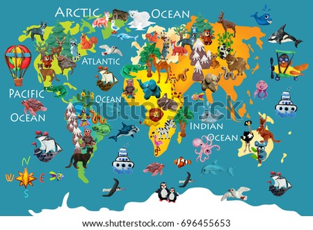 Royalty free world map with animals monkey and 364742435 stock world animals plasticine colorful kids 3d map 696455653 gumiabroncs Image collections