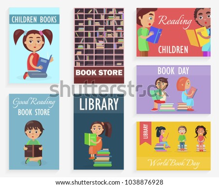 World book day in children library of bookstore  illustration. Bookcase with shelves and literature, reading kids.