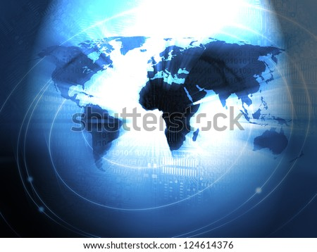 World Business Background in blue - stock photo
