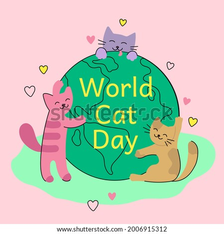 World Cat Day banner. Сute cats hug the globe. Planet Earth and loving cats. Isolated on a pink background. Smiling pets in flat cartoon style. Colorful modern illustration for greeting cards, poster. Photo stock ©