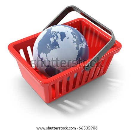 World commerce, checkout icon (3d render)