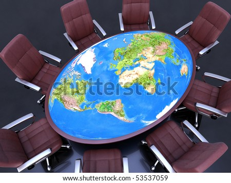 World Conference (Business Meeting). Eight seat around the table, with planet Earth (world map 3d) in the center. Concept of the concern about the future of the planet.