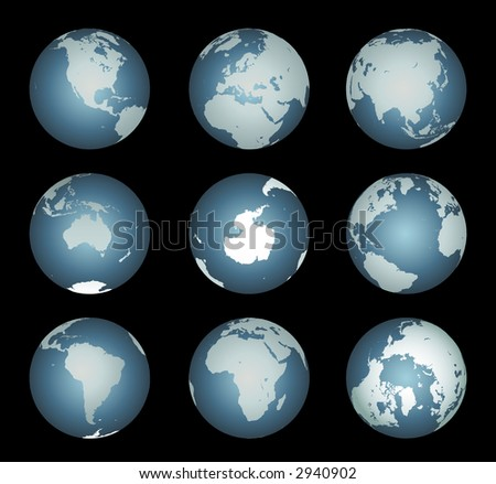 World Continents Accurate map onto a globe. Antarctica, Arctic, Atlantic. island chains, lakes, etc