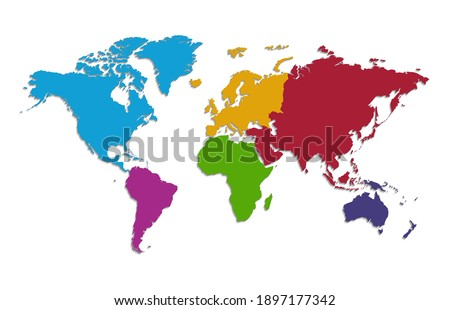 World continents map, separate individual continent, color map isolated on white background blank raster