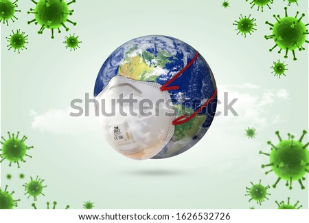 world Corona virus attack concept. world/earth put mask to fight against Corona virus. Concept of fight against virus, danger and public health risk disease.Many Virus attack isolated on green