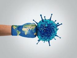World Coronavirus, Corona virus vaccine concept. World, Earth fight against coronavirus. Concept of fight against coronavirus, danger and public health risk disease. Coronavirus vaccine concept.