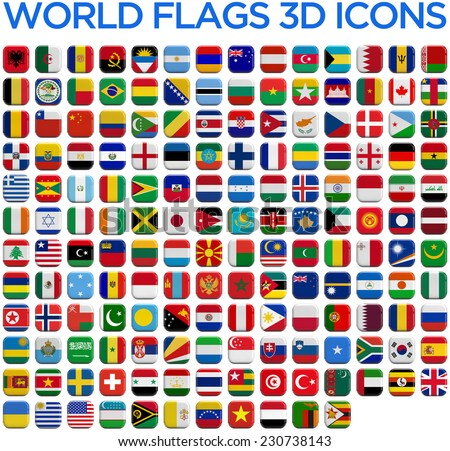 World country flags 3D and isolated square icons. #230738143