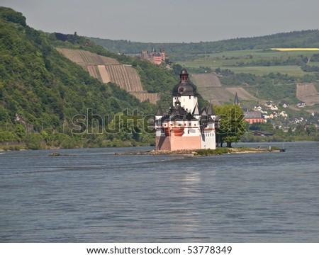World culture heritage Pfalzgrafenstein in rhine valley ( Kaub castle )