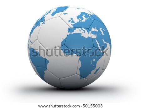 World cup soccer- world map printet on soccer ball - stock photo