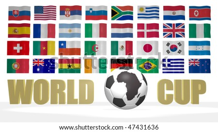 World cup 2010 South Africa theme with the national flags of participating countries on the background. The soccer ball has an image of the African continent on it.