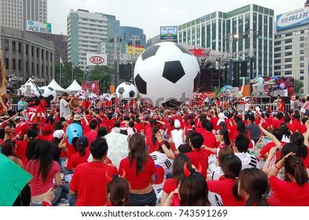World Cup street cheering - Seoul Plaza, Seoul, Korea: June 13, 2006