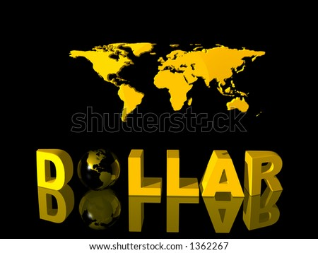 World currency, dollar with world map in background. Illustration. Copy space and clipping path.