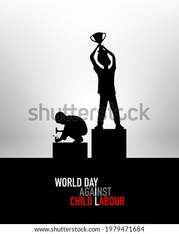 World day against Child Labor. Anti child labor day. Let's bring child labor down. Kids working one side and another side kids win the cup. Stop Child Labour. Light Background, isolate view.