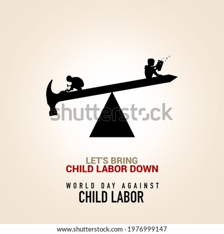 World day against Child Labor. Anti child labor day. Pen, Pencil, and hammer with Children are working on one side and reading books on the other side. Let's bring child labor down. Light Isolate view