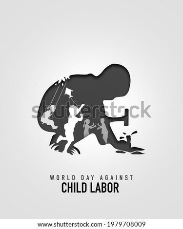 World day against Child Labor. The kid working with the hammer and multiple children Play. The boy is flying a kite. Breaking bricks. Paper cutout design on white background.