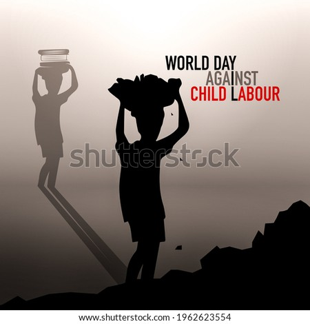 World day against child labor with student Books in the head Walking shadow. Flat style illustration concept of child abuse and exploitation campaign for poster and banner.